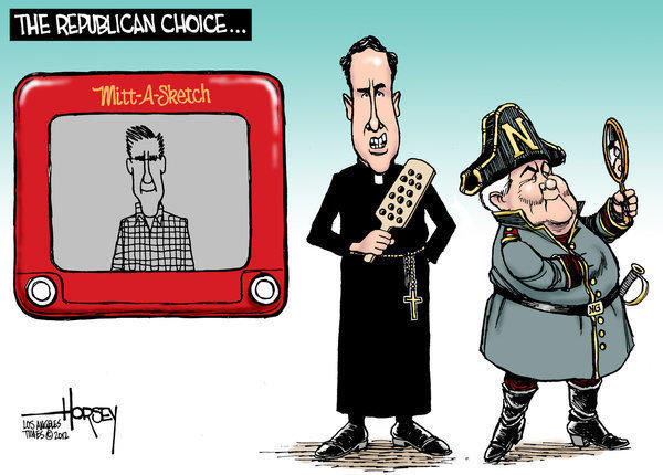 Etch-a-sketch Romney and potty mouth Santorum