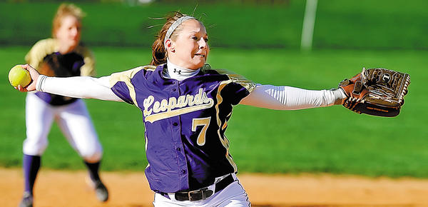 Smithsburg's Cara Ferguson delivers a pitch on Monday during the fourth inning of the Leopards' 15-0 victory over Williamsport.