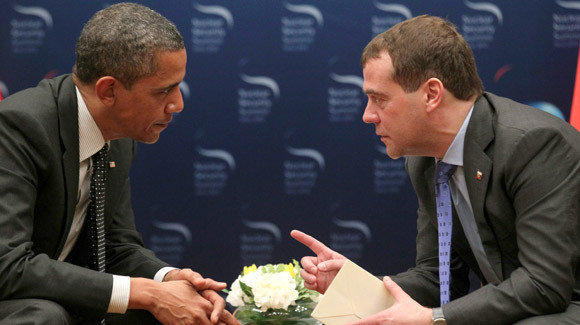 President Obama, left, speaks with Russia's President Dmitriy Medvedev, right, during their bilateral meeting on the sidelines of the 2012 Seoul Nuclear Security Summit.