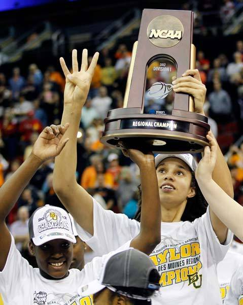 Baylor Lady Bears center Brittney Griner (42) and her teammates celebrate after their 77-58 victory over the Tennessee Lady Volunteers during the finals of the Iowa region in the 2012 NCAA women's basketball tournament at Wells Fargo Arena.