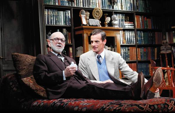 "Martin Rayner as Sigmund Freud and Mark H. Dold as C.S. Lewis in ""Freud's Last Session"" at Mercury Theatre."