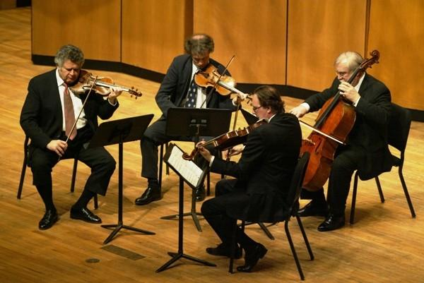Shmuel Ashkenasi (violin), Mathias Tacke (violin), Marc Johnson (cello) and Richard Young (viola) of the Vermeer Quartet.