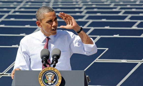 President Obama speaks at Sempra U.S. Gas and Power's Copper Mountain Solar 1 facility, the largest photovoltaic solar plant in the United States.