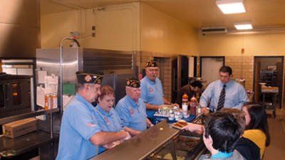 VFW members Roy Huston, Laura Beltz and Jim Williams, along with high school principal Allan Berkhimer, served breakfast to Shade-Central City High School students during their three-day PSSA testing schedule.