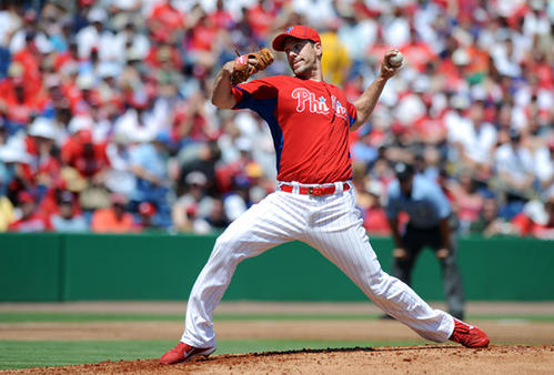 Philadelphia Phillies' catcher Cliff Lee (33) delivers a pitch in the eighth inning against the Pittsburg Pirates in Clearwater Fl.