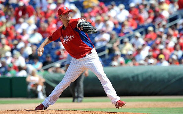 Philadelphia Phillies' pitcher Kyle Kendrick (38) delivers a pitch in the eighth inning against the Pittsburg Pirates in Clearwater Fl.