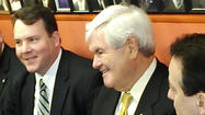 Republican presidential candidate Newt Gingrich stopped in Annapolis on Tuesday, making brief comments to the state Senate and having lunch at a famous city eatery.