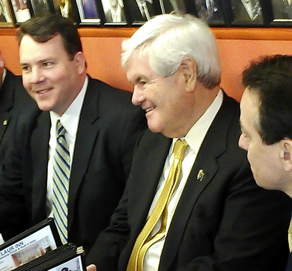 Maryland Republican Party Chairman Alex X. Mooney, left, and Republican presidential candidate Newt Gingrich, right, met for lunch Tuesday at Chick and Ruth's Delly in Annapolis.
