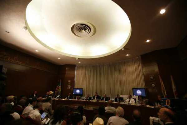 The Coliseum Commission board room in July 2010
