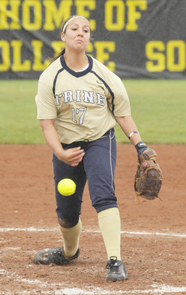 Petoskey graduate Andi Gasco delivers to the plate during a Trine (Ind.) University softball game. Gasco recorded her Trine-record 41st career victory in a 9-1 win over Bluffton (Ohio), make her the Thunder's all-time winningest pitcher.