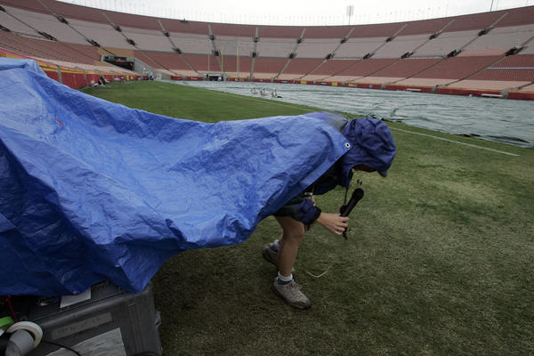 The Los Angeles Memorial Coliseum is prepared before a game in 2005.