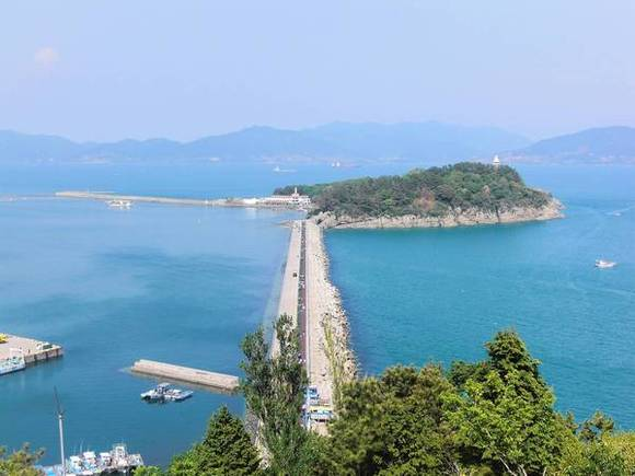 View of Odong island and its pedestrian walkway in Yeosu, South Korea