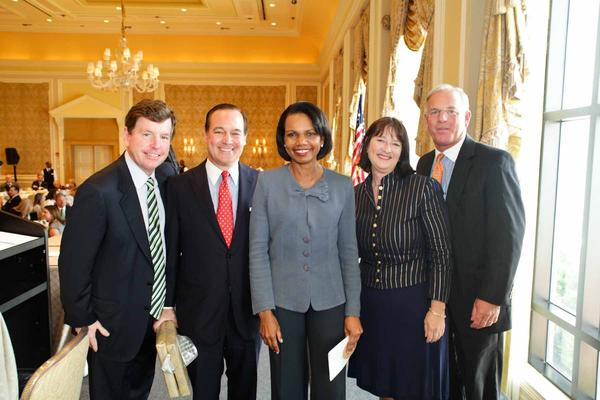 "Tom Quick, left, Wally Turner, Dr. Condoleezza Rice, Mary O'Connor and Craig Grant at the ""PNC Bank Eminent Speaker's Luncheon,"" a fundraiser for the Boys & Girls Clubs of Palm Beach, which took place on March 21 at The Breakers Hotel and featured keynote speaker former Sec. of State Dr. Condoleezza Rice. To see more photos from Society Scene's Palm edition, visit www.Facebook.com/SocietyScene."