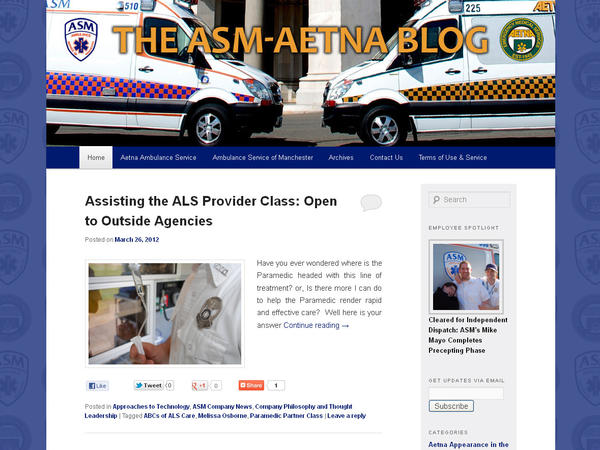 "A blog for the Aetna ambulance service, which offers EMS and paramedic services to Rocky Hill, Wethersfield and the southern portion of Hartford. Categories: Best Overall Blog, Best Health Blog and Best Business Blog. Check it out here: <a href=""http://asm-aetna.com/blog/aetna-ambulance-service/"" target=""_blank"">ASM-Aetna Blog</a>."