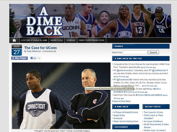 "A blog about UConn basketball, past and present. Categories: Best Overall Blog, Best Sports Blog and Best UConn Blog. Check it out here: <a href=""http://www.http://www.adimeback.com/"" target=""_blank"">A Dime Back</a>"