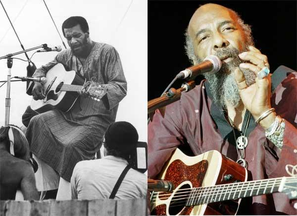 Richie Havens at Woodstock in 1969 and on stage in 2009.