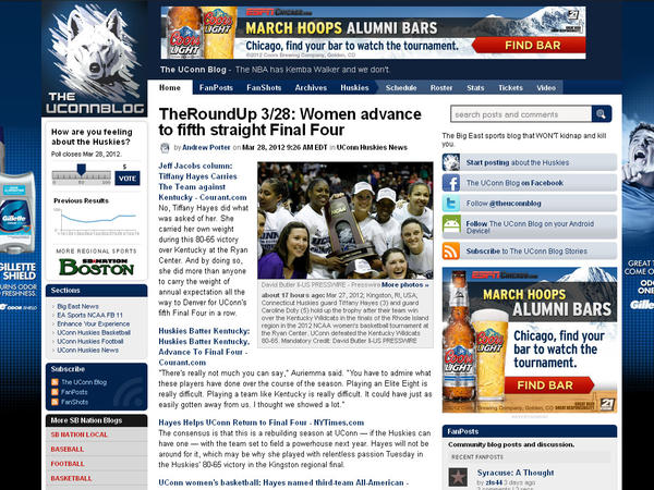 "A blog for UConn Huskies fans. Categories: Best Overall Blog, Best Sports Blog and Best UConn Blog. Check it out here: <a href=""http://www.theuconnblog.com/"" target=""_blank"">The UConn Blog</a>."