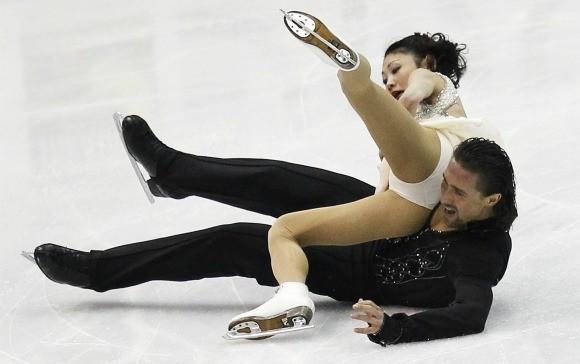 Yuko Kavaguti and Alexander Smirnov of Russia perform during Wednesday's pairs short program at the World Figure Skating Championships in Nice