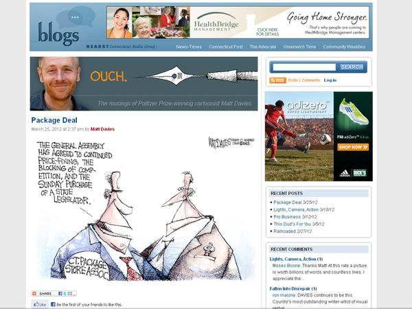 "The blog for Pulitzer Prize winning cartoonist Matt Davies from Hearst Connecticut Media Group. Category: Best Political Blog. Check it out here: <a href=""http://blog.ctnews.com/davies/"" target=""_blank"">OUCH. CT News</a>."