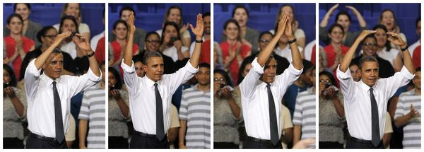 A series of photos show President Obama performing the traditional O-H-I-O cheer before an event at Ohio State University on Thursday.