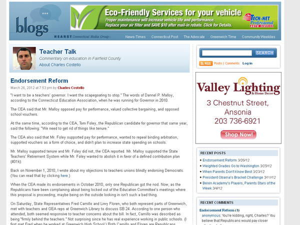 "A blog featuring Charles Costello's commentary on education from Fairfield County. Categories: Best Education Blog. Check it out here: <a href=""http://blog.ctnews.com/teachertalk/"" target=""_blank"">Teacher Talk, CT News</a>"