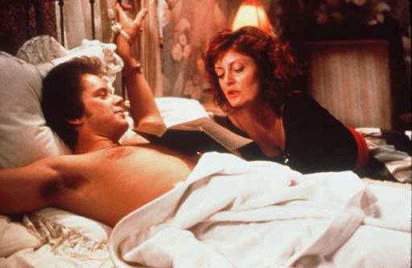 "Tim Robbins and Susan Sarandon in ""Bull Durham."""