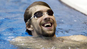 Michael Phelps checks in for the Indianapolis Grand Prix