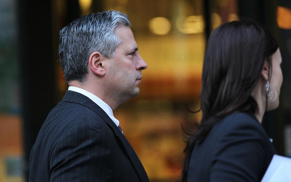 John Harris, who was chief of staff for Rod Blagojevich when both were arrested in December 2008, leaves court today. He was sentenced to just 10 days in prison for assisting the then-governor's efforts to sell a vacant U.S. Senate seat.