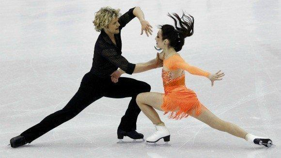 Meryl Davis and Charlie White of the U.S. during the short dance at the World Figure Skating Championships in Nice, France