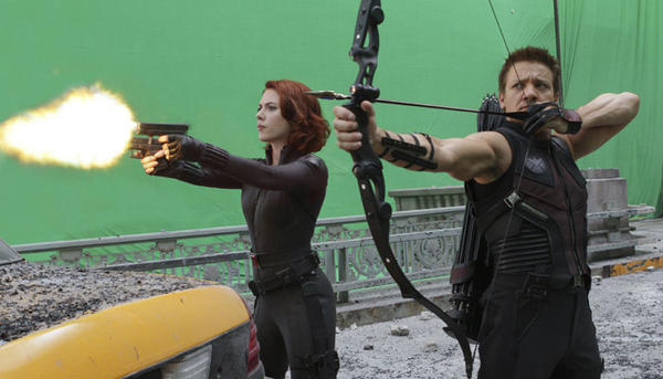 "The ace archer known as Hawkeye (Jeremy Renner, with Scarlett Johansson's Black Widow) hits theaters May 4 in what's likely to be another blockbuster, ""The Avengers."""