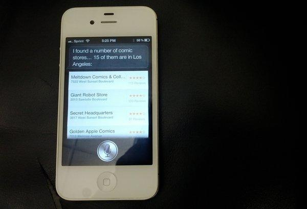 Siri, a voice-activated assistant program, on the Apple iPhone 4S.