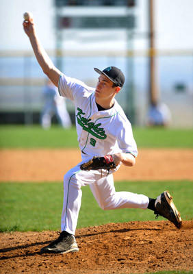 Pen Argyl's Dylan Evans pitches in the baseball game against Northwestern Lehigh held at Pen Argyl H.S. on Wednesday.
