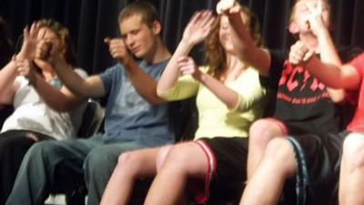North Star's Mindy Greeley, Don Faidley, Lauren Walker, and Zane Mafield take a drive while hypnotized