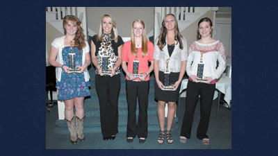 These basketball players were chosen all-county first team. They are, from left: Katie Reckner, Conemaugh Township; Rebecca Muha, Shade; Kayla Stockenus, Shanksville; Shelby Coughenour, Berlin; and Amanda Lohr, North Star.