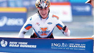 Tatyana McFadden, of Clarksville, is also a marathoner, seen here in the 2010 New York City Marathon.