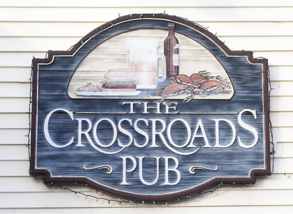 The Crossroads Pub, known for steamed crabs, is located on Ten Oaks Road in Dayton.