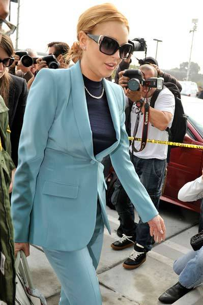 Lindsay Lohan arrives for her latest probation hearing on March 29, 2012 in Los Angeles, Calif.