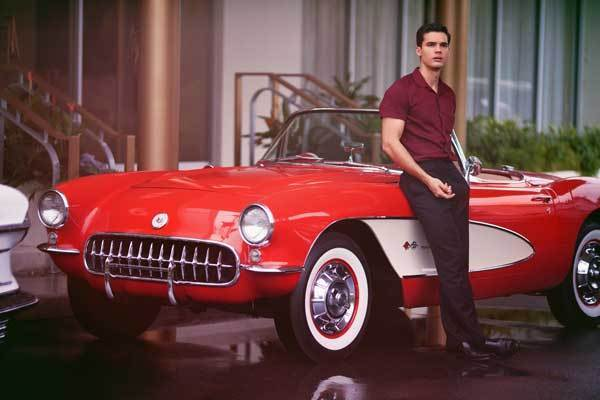 "This red-and-white 1957 Chevrolet Corvette with the actor Steven Strait is owned by Deerfield Beach resident Mike Kukla who leased the car to ""Magic City."" ""It's fun knowing that my car is a part of it,"" said Kukla, a sales executive who bought the car in 1996 and restored it. ""It's nice to see it being used the way it's being used."""
