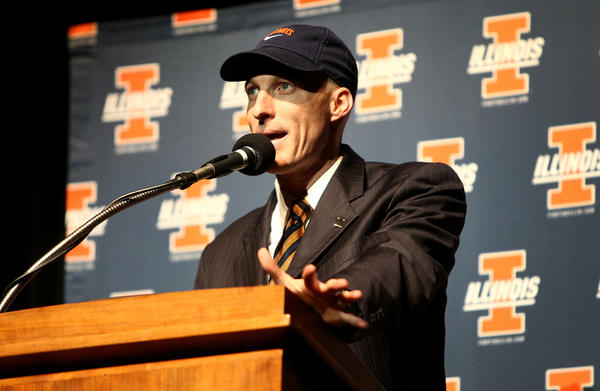 New Illini head men's basketball coach John Groce speaks to members of the media during a press conference today at Assembly Hall in Champaign, Ill.