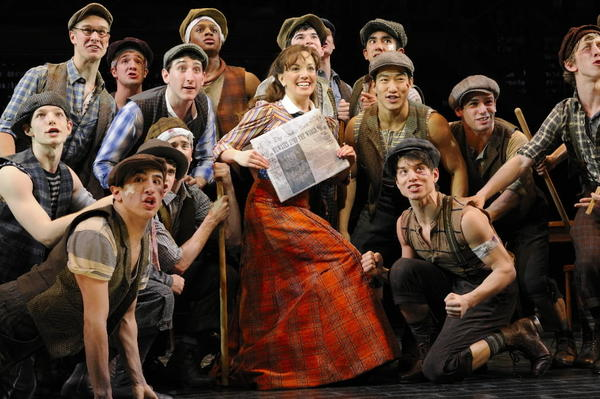 "Jeremy Jordan, center, and the cast of ""Newsies."""