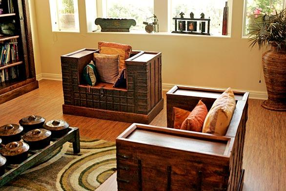 Much of the house's decor comes from Portugal's travels -- tours with People Under the Stairs and vacations with his wife, Ritu, a lawyer. The living room chairs were built from dowry chests bought in northern India, where Ritu's family is from. They open to reveal storage space.