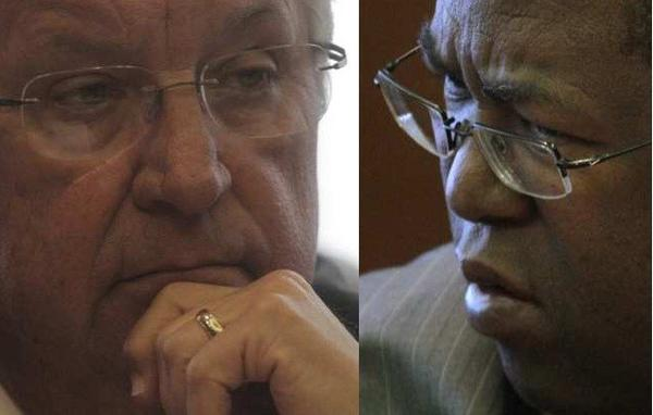 Los Angeles County Supervisors Don Knabe and Mark Ridley-Thomas at a meeting of the Los Angeles Memorial Coliseum Commission.