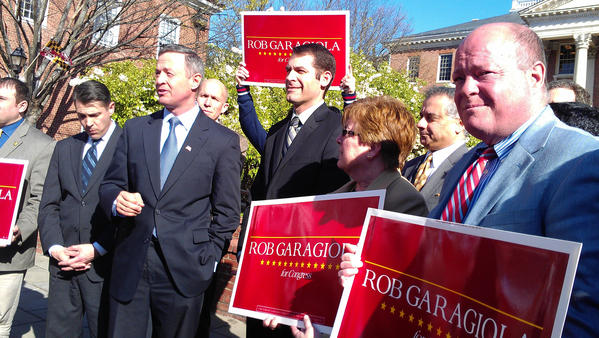 State Sen. Robert J. Garagiola, center, on Thursday received the endorsement of Gov. Martin O'Malley (next to Garagiola) in the race for Maryland's 6th District seat in Congress. Del. John P. Donoghue of Hagerstown, another Garagiola supporter, is at right. The Democratic and Republican primaries will be held Tuesday.