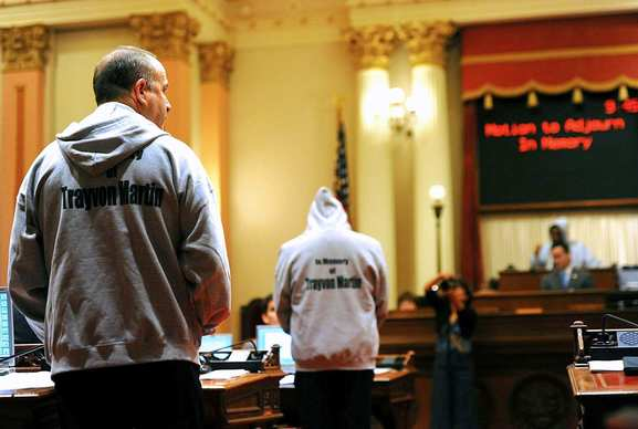 State Sen. Darrell Steinberg (D-Sacramento) wears a hoodie during the morning session of the California Legislature on Thursday in honor of slain Florida teen Trayvon Martin.