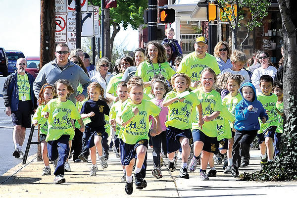 Students from Saint Andrew School and others take off for the start of Thursday's second annual Judy's Challenge in Waynesboro, Pa.