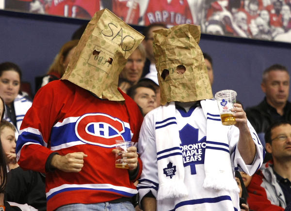 A Montreal Canadiens  and Toronto Maple Leafs fan during a game against the Philadelphia Flyers at the Air Canada Centre. Philadelphia defeated Toronto 7-1. Mandatory Credit: John E. Sokolowski-US PRESSWIRE