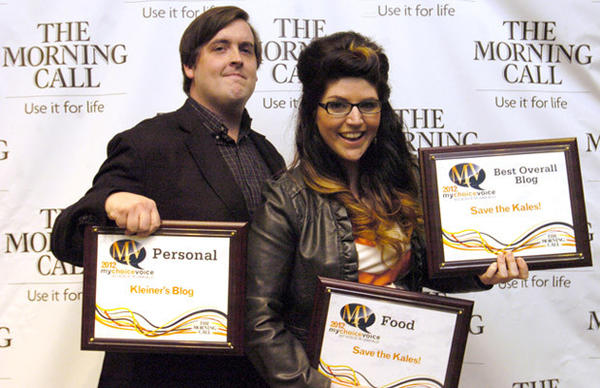 (left) Andrew Kleiner and Jaime Karpovich won were awarded for their blog's at an award ceremony that was held at Allentown Symphony Hall to announce the winners for The Morning Call's Best of Blog competition.