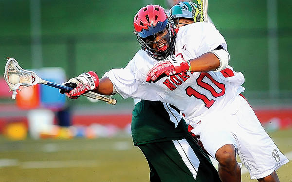North Hagerstown's Kyle Hewlett battles against Tuscarora on Thursday.