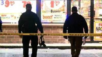 Police inside a crime scene on the 4100 block of West Roosevelt Road.