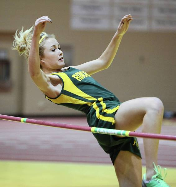 Aberdeen Roncalli's Morgan Gunderson approaches the bar during the girls' high jump Friday at the Al Sahli Indoor Track Meet at the Barnett Center. photo by john davis taken 3/25/2011